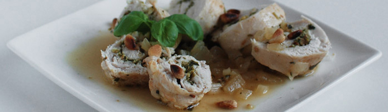 Kippestorolletjes - Kip gevuld met pesto recept bakmuts